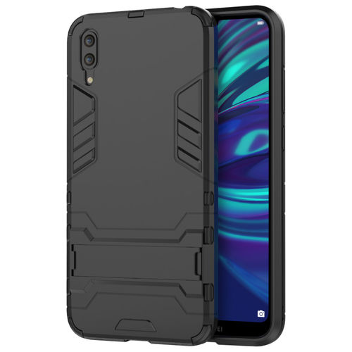Slim Armour Tough Shockproof Case & Stand for Huawei Y7 Pro (2019) - Black